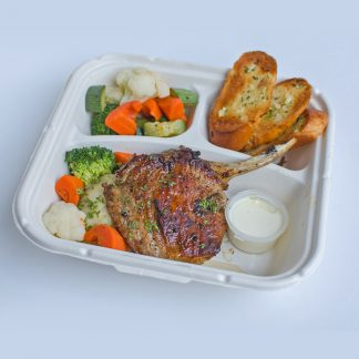 Pork Chop Steak with Cream Sauce , Garlic Bread with Sauteed Vegetable