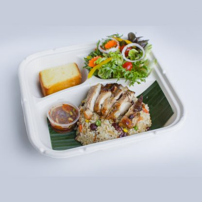 Wheat Fried Rice with BBQ Chicken, Jim Jeaw, Mixed Salad and Butter Cake